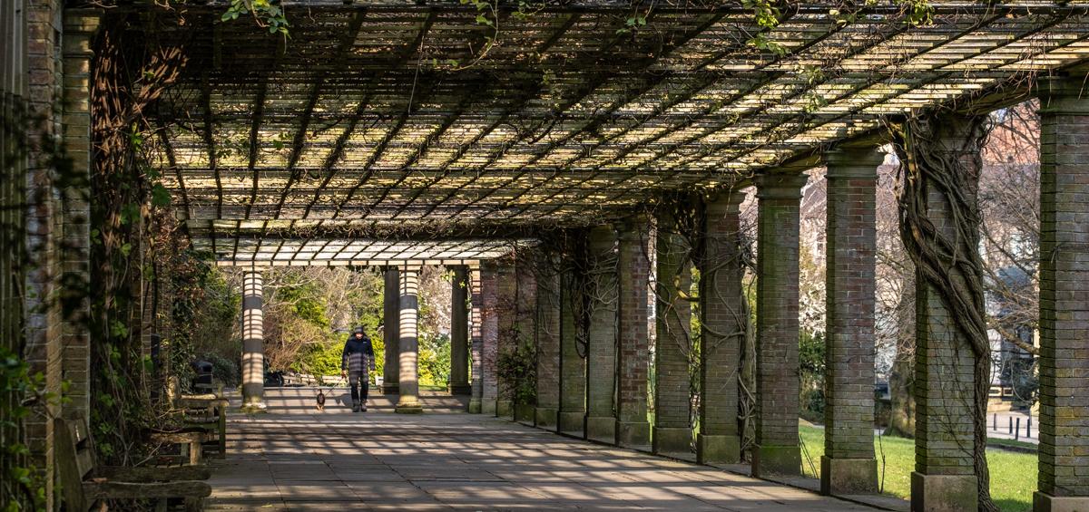 Spring Harrogate Valley Gardens 174 Man in colonnade